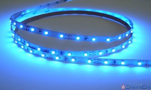 Герметичная светодиодная лента синего свечения 3528-300 LED, IP 65, 4,8 Вт/м, 12V. 5 Метров
