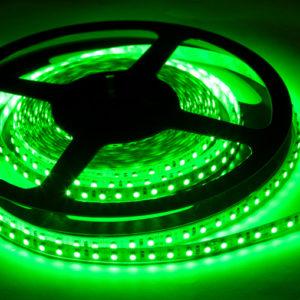 Герметичная светодиодная лента зелёного свечения 3528-600 LED, IP 65, 9,6 Вт/м, 12V. 5 Метров.