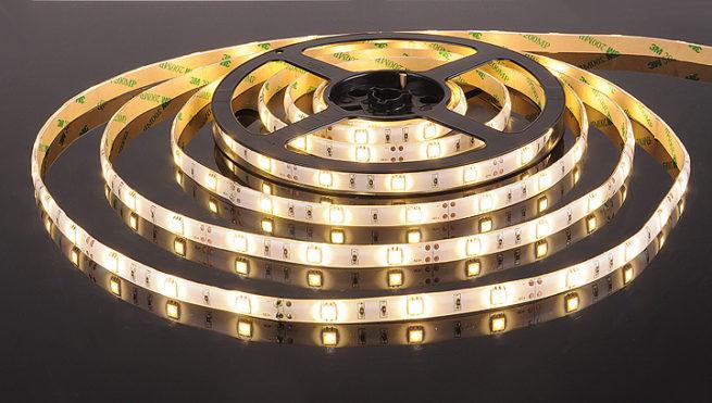 Герметичная светодиодная лента тёплого свечения 5050-150 LED, IP 65, 7,2 Вт/м, 12V. 5 Метров.