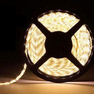 Открытая светодиодная лента тёплого свечения 5050-600 LED, IP 20, 28,8 Вт/м, 24V. 5 Метров.