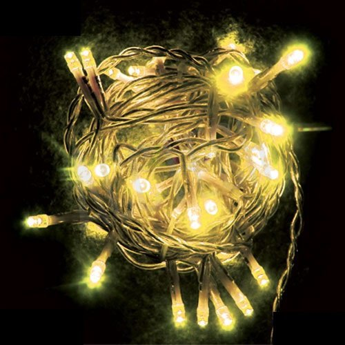 Светодиодная гирлянда тепло белого свечения белый провод 8м.